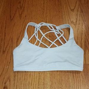 Lululemon White Tan Size 2 Sports Bra Strappy Yoga